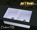 """MitraniMitrani Modena Db 33.5"""" Double Bowl Fire Clay Sink - Biscuit (Pictured In White)"""