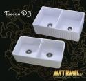 "MitraniMitrani Tuscan Db 33"" Reversible Apron Front Double Bowl Fire Clay Sink - White"