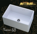 """MitraniMitrani Tuscan Sb 26"""" Reversible Apront Front Single Bowl Fire Clay Sink - Biscuit (Pictured In White)"""