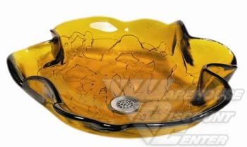Bear Creek GlassBear Creek Glass Ocean-Amber blown glass vessel sink.